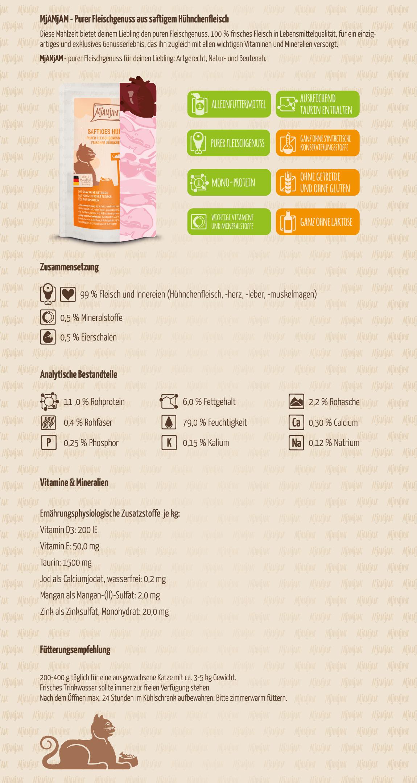 Mjamjam_Produktbeschreibung_Katze_Pouches_PUR_Saftiges-Huhn