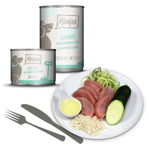 MjAMjAM - gute Pute an gekochtem Reis mit gedämpfter Zucchini