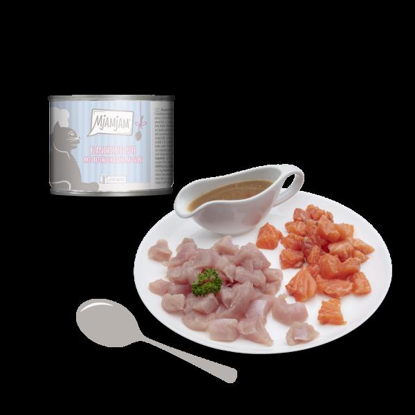 MjAMjAM – blanchierte Pute mit reichlich Lachs an Soße
