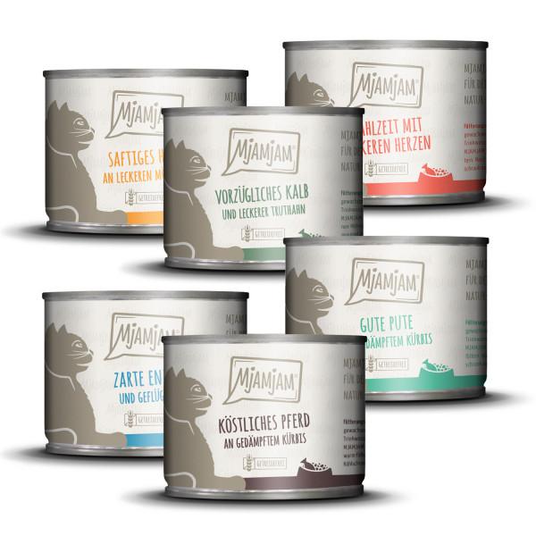 MjAMjAM - Mixpaket IV Huhn, Pute, Kalb & Truthahn, Herzen, Pferd, Ente & Geflügel 6 x 200g