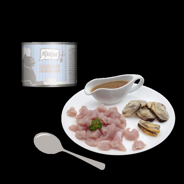 MjAMjAM – blanchierte Pute mit Muscheln an Soße